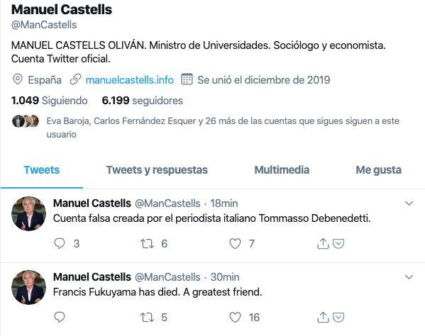 Perfil falso del ministro Manuel