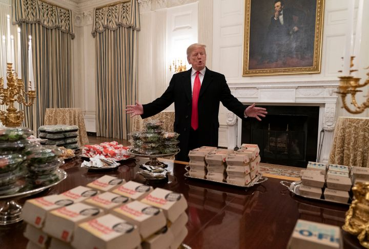 The fast-food president in his element.