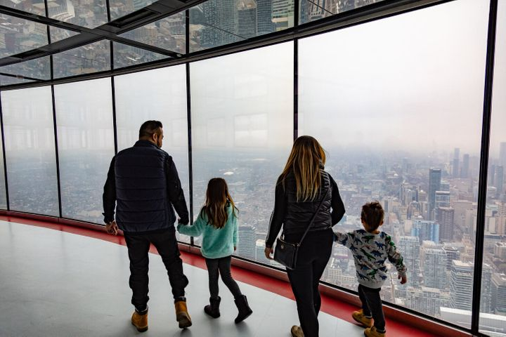 Family on the observation deck, CN Tower, Toronto