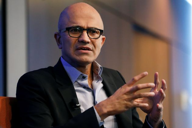 Microsoft CEO Satya Nadella speaks during an event in Manhattan, September 27,