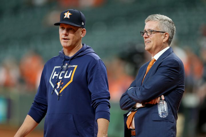 Houson Astros manager AJ Hinch and general manager Jeff Luhnow on Oct. 5, 2019, in Houston, Texas.