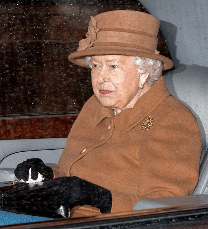 Queen Elizabeth II seen wearing a matching hue to Meghan leaving church in King's Lynn, England, on Jan. 12, days later.