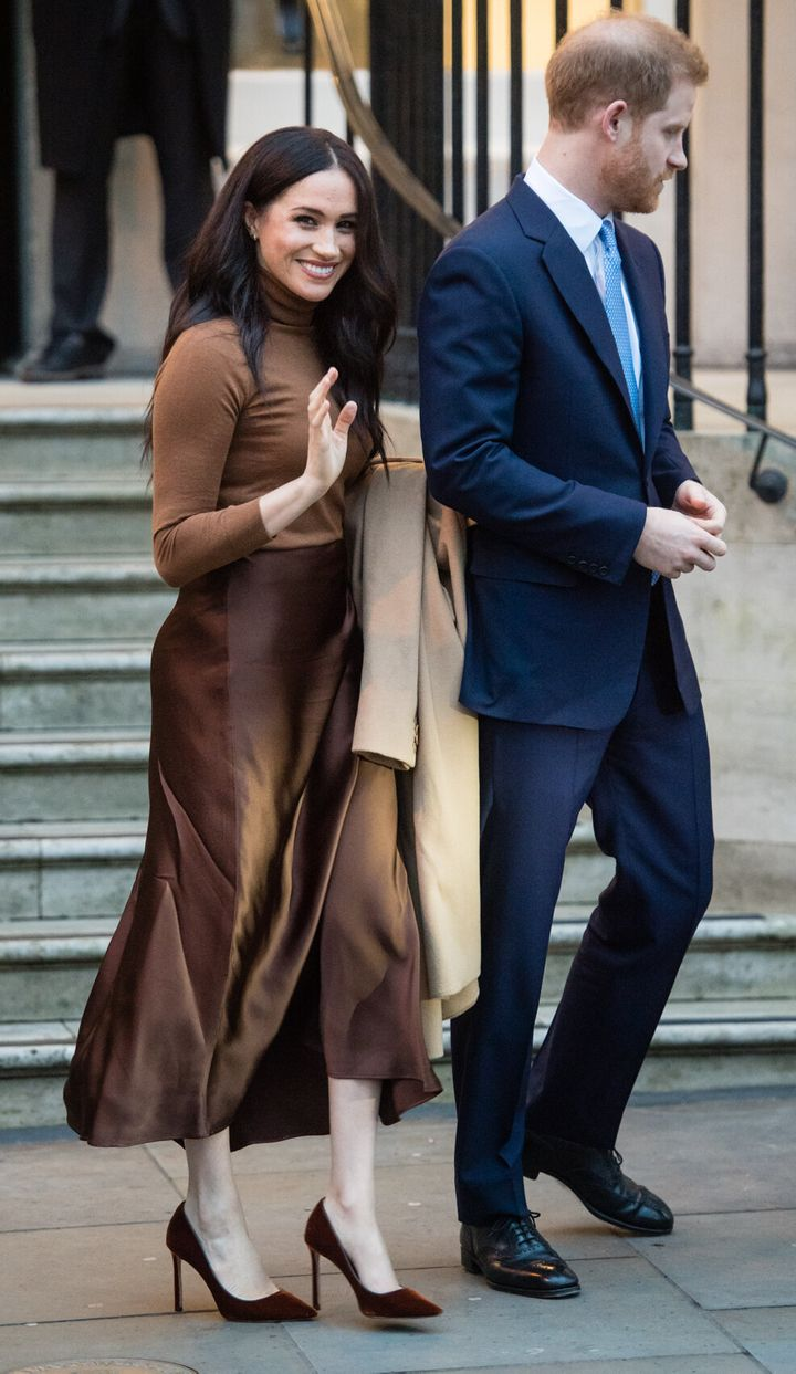 All neutral everything on the Duchess of Sussex, pictured here with Prince Harry leaving Canada House in London on Jan. 7.