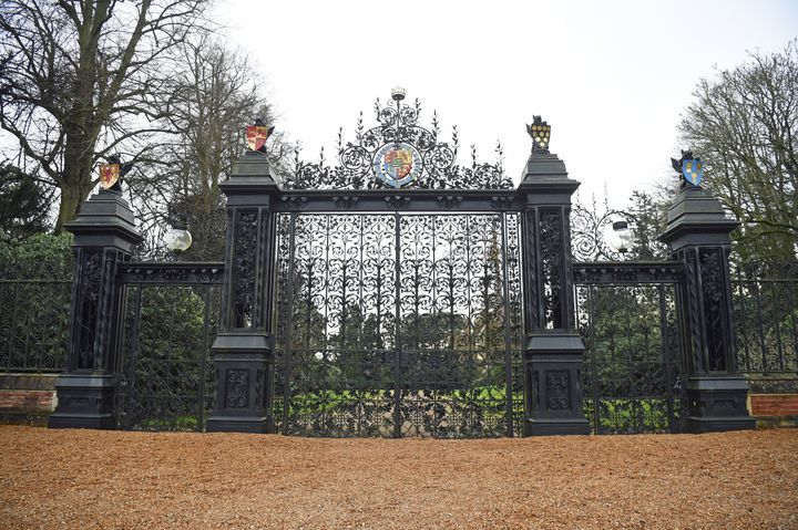 The Norwich Gates to the Sandringham Estate in Norfolk, where Queen Elizabeth II and senior royals held crisis talks over the future roles of the Duke and Duchess of Sussex on Monday.