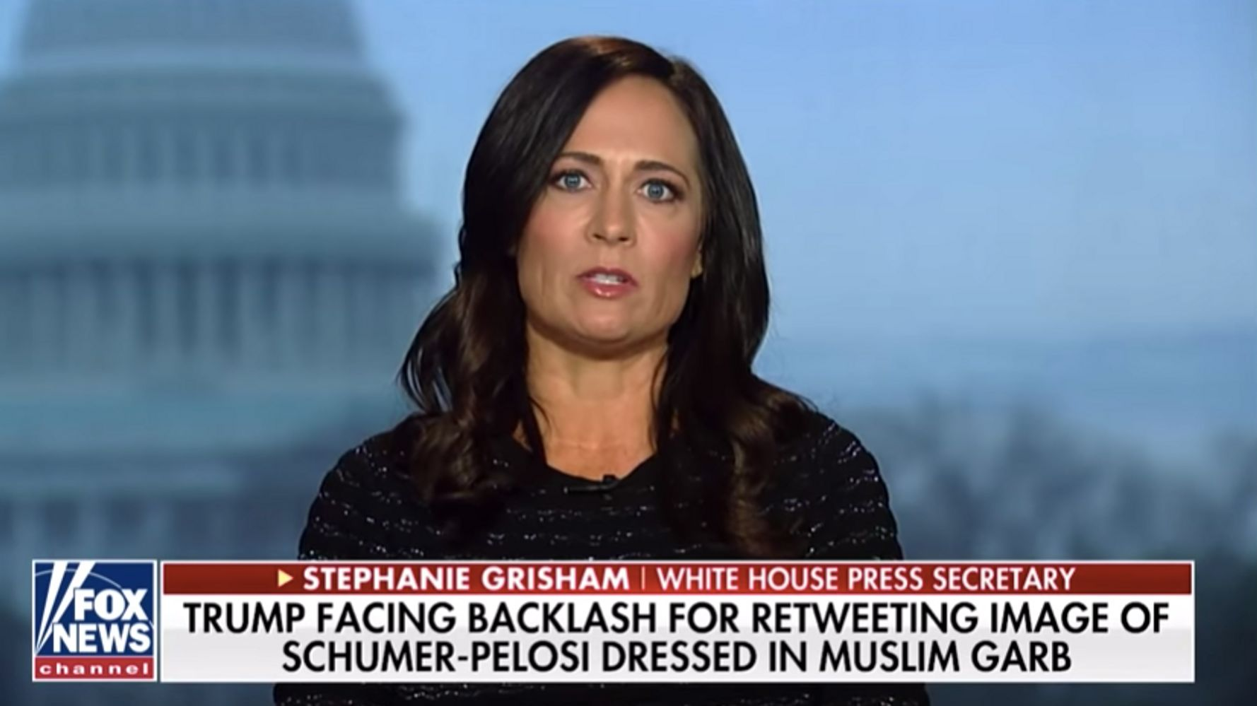 Westlake Legal Group 5e1cda6321000053001f6d10 Stephanie Grisham Peddles Outrageous Defense Of Trump's Anti-Muslim Retweet