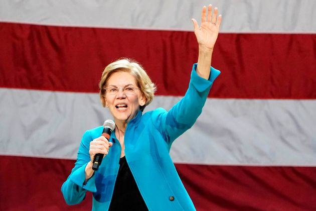 Democratic presidential candidate Elizabeth Warren at a campaign event at Brooklyn's Kings Theatre in...