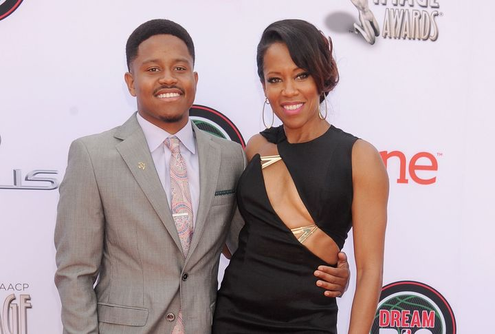Regina King and her son, Ian, arrive at the 45th NAACP Image Awards on Feb. 22, 2014, in Pasadena, California.