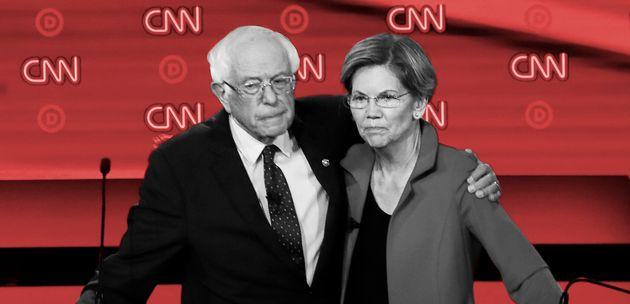 Bernie Sanders et Elizabeth Warren, lors du débat démocrate du 30 juillet 2019 (photo