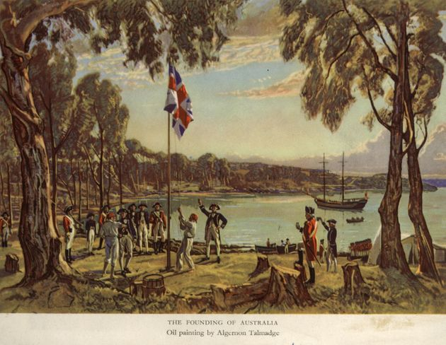 Captain Arthur Phillip of the Royal Navy, raises the flag to declare British possession of New South Wales at Sydney Cove, Australia,  26th January 1788.