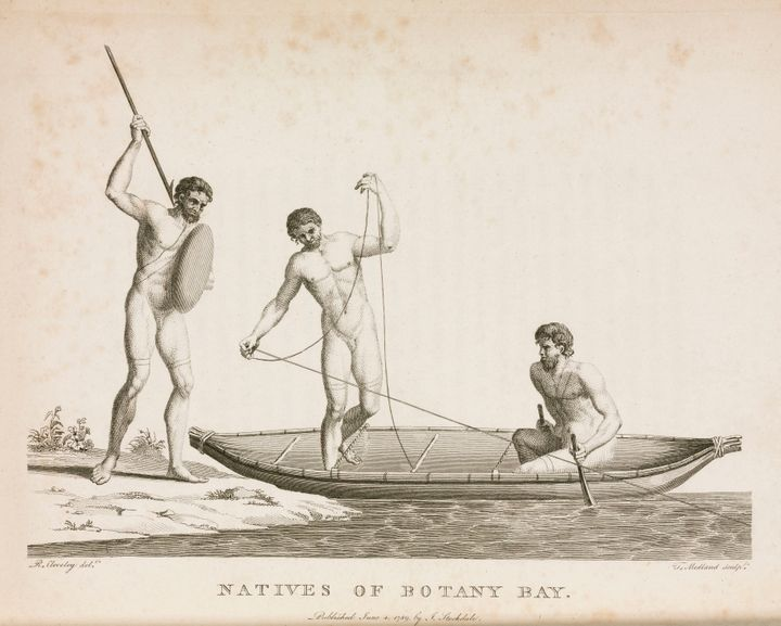 An early depiction of Aboriginal Australians in Botany Bay.