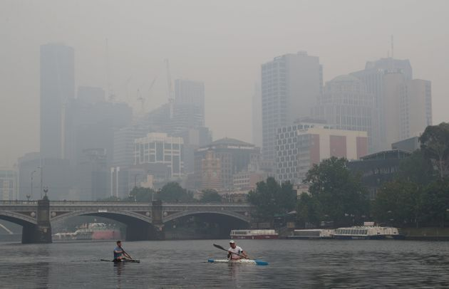 A thick smoke haze from the bushfires hangs over Melbourne, Australia, January 14,