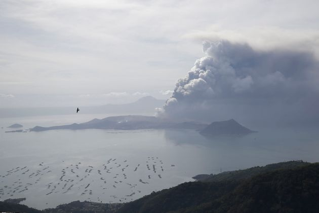 Taal volcano continues to spew ash on Monday Jan. 13, 2020, in Tagaytay, Cavite province, south of Manila,...