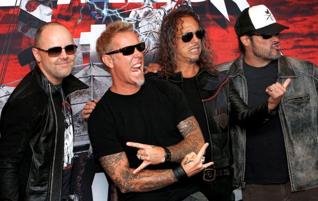 Members of the band Metallica, from left to right: Lars Ulrich, James Hetfield, Kirk Hammett and Robert...
