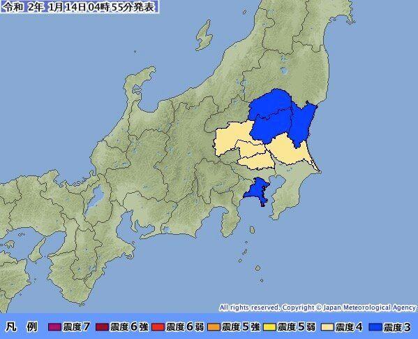 1月14日午前4時53分頃には、震源地を茨城県南部とする地震が発生。