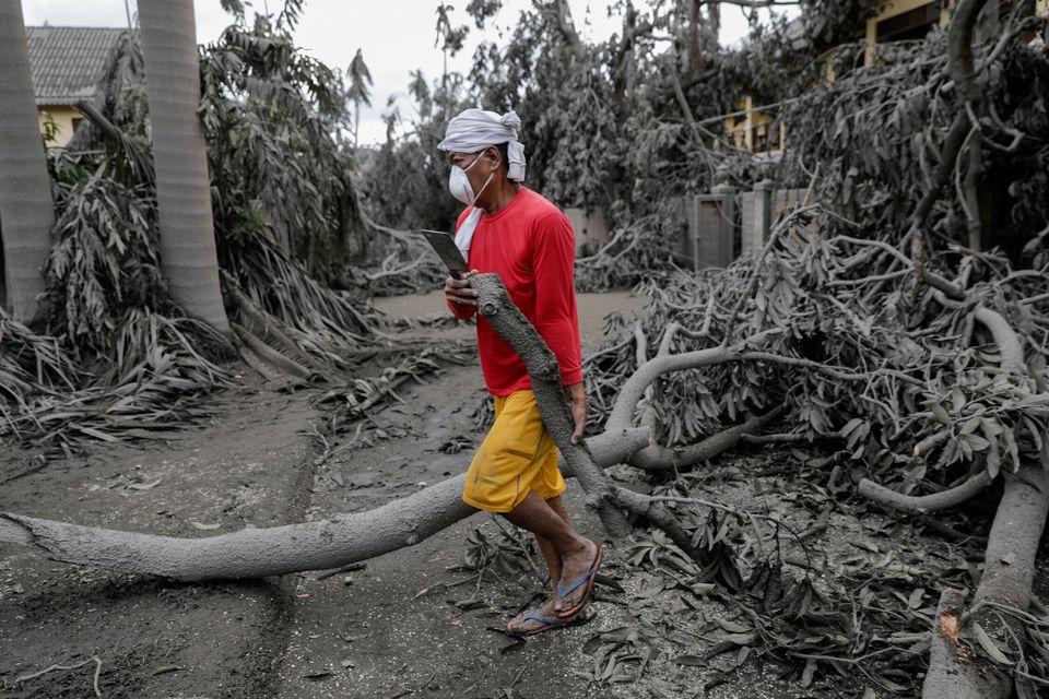 14일 따가이따이 딸리사이의 한 리조트에서 직원이 쓰러진 나무 잔해를 치우고