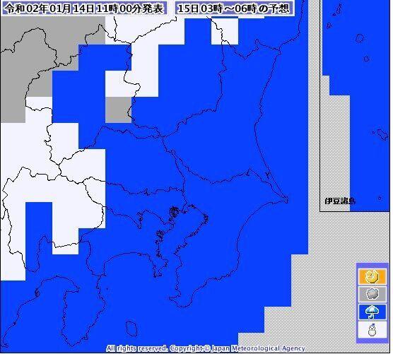 15日の明け方午前3時から6時までの気象庁の予報。関東甲信地方の一部は、15日の早朝にかけて雪。