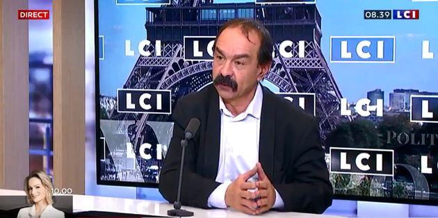 Philippe Martinez, secrétaire général de la CGT, sur le plateau de LCI ce mardi 14