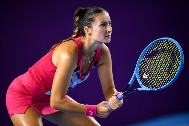 Slovenian tennis player Dalila Jakupovic at a match in China in