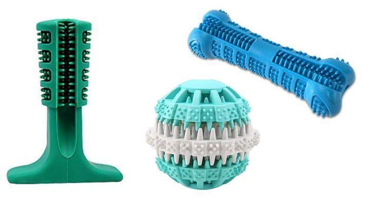 Juguetes dentales con distintas formas.