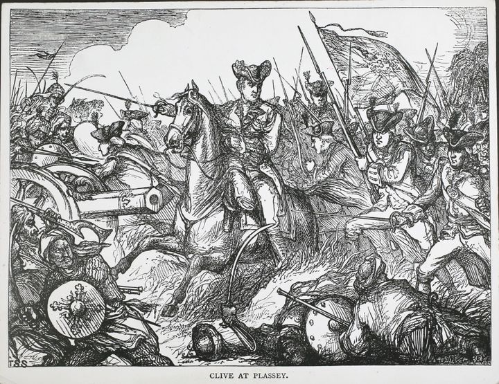 Robert Clive at the Battle of Plassey in Bengal, 23rd June 1757.