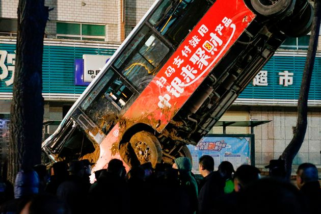 Huge Sinkhole Swallows Bus And People In China
