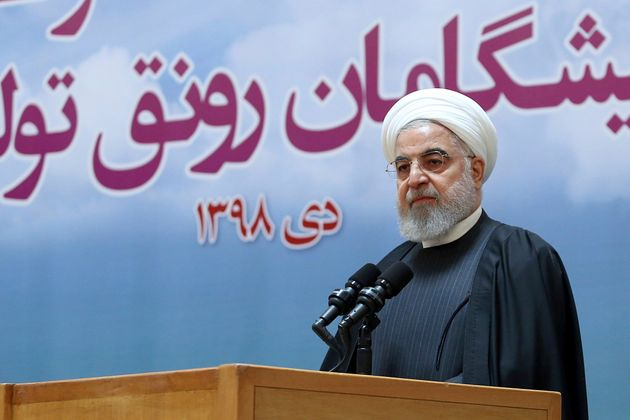 Iranian President Hassan Rouhani speaks during a meeting in Tehran on Tuesday in this image released...