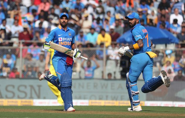 Shikhar Dhawan and KL Rahul during the first ODI match between India and Australia in Mumbai, January...