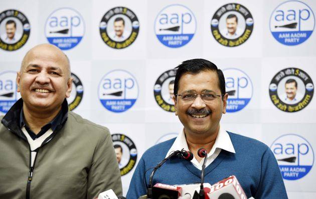 Delhi Chief Minister Arvind Kejriwal during a press conference in the presence of Deputy Chief Minister...