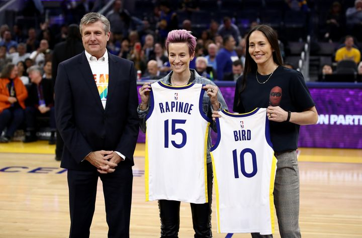 In October, Welts (left) presented U.S. women's national soccer team captain Megan Rapinoe and WNBA star Sue Bird