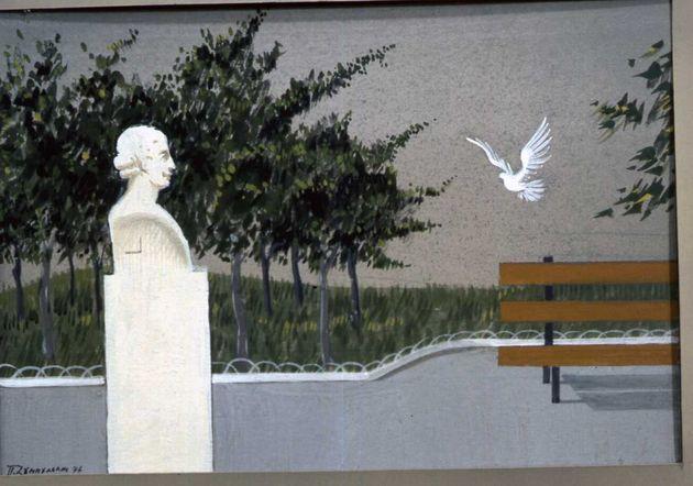 ΄Εργο της έκθεσης του Π. Ζουμπουλάκη: «Η Αθήνα μου – Πενήντα χρόνια ατομικής εικαστικής