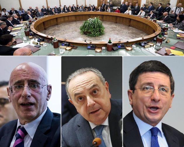 Sopra il plenum del Csm- sotto, da sinistra, Michele Prestipino, procuratore aggiunto di Roma, ora reggente,...