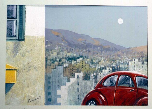 Εργο του Π. Ζουμπουλάκη από την έκθεση: «Η Αθήνα μου – Πενήντα χρόνια ατομικής εικαστικής