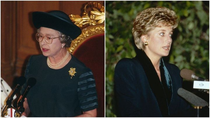 "Queen Elizabeth ll (left) delivers her ""Annus Horribilis"" speech on Nov. 24, 1992. Princess Diana (right) announces she is retiring from public life on Dec. 3, 1993."