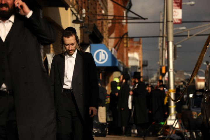 Members of the Jewish community gather around the JC Kosher Supermarket on December 11, 2019 in Jersey City, New Jersey.&nbsp