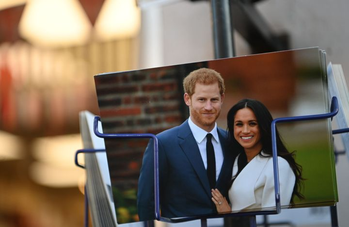 Royal memorabilia featuring Britain's Prince Harry, Duke of Sussex, and Meghan, Duchess of Sussex, is displayed for sale in a store near Buckingham Palace in London, Jan. 10, 2020.