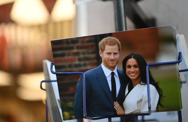 Royal memorabilia featuring Britain's Prince Harry, Duke of Sussex, and Meghan, Duchess of Sussex, is...