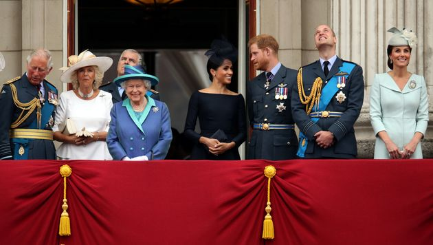 Charles, Camilla, Duchess of Cornwall, Queen Elizabeth, Meghan, Duchess of Sussex, Prince Harry, Prince...