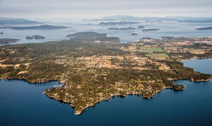 An aerial view on North Saanich, B.C., the Greater Victoria-area town where Prince Harry and Meghan Markle recently spent their holidays.