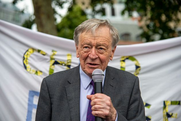 Lord Alf Dubs joins campaigners from Safe Passage UK and Lord Alf Dubs Children Fund at a demonstration...