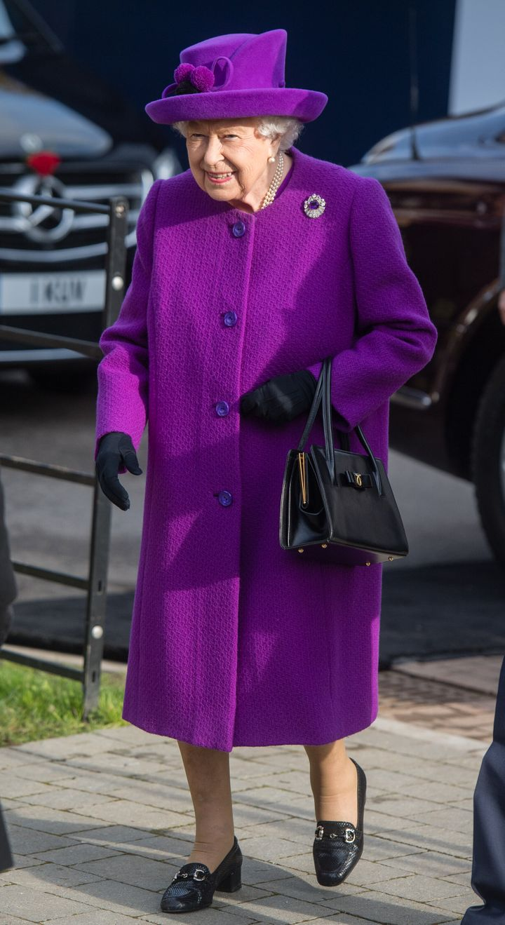 The queen in a color we're more used to seeing her in on Nov. 6, 2019.