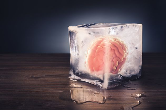 brain freeze concept with dramatic