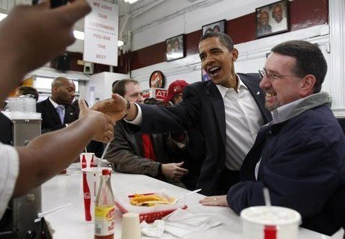 President Barack Obama visits Ben's Chili Bowl in 2009, just 10 days after his inauguration.