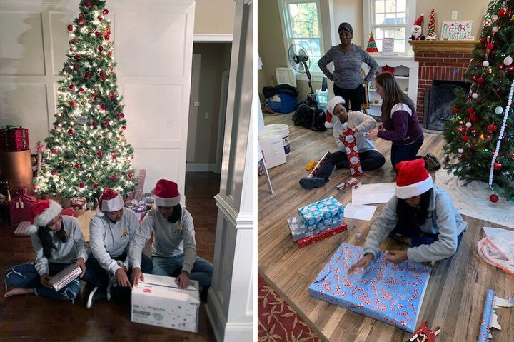 Chapman helping with a holiday toy drop-off volunteer event at Genesis Joy House in December 2019.