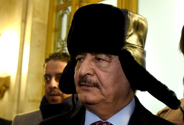 Commander of the Libyan National Army, General Khalifa Haftar leaves the Russian Foreign Ministry office...