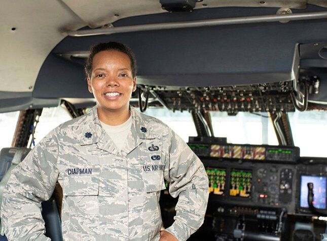 Chapman in the cockpit of a C-5 Galaxy aircraft in October 2018.