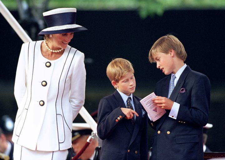 The late Princess Diana and her sons, Prince Harry and Prince William, in childhood days.