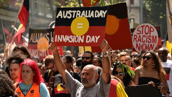 """People take part in an """"Invasion Day"""" rally on Australia Day in Melbourne on Jan. 26, 2018."""