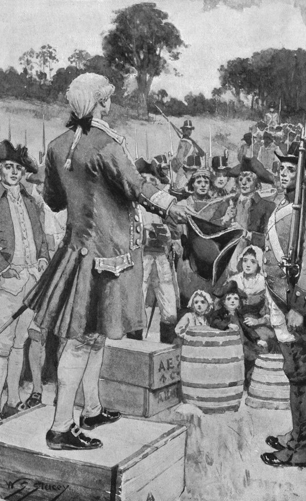 Gov. Arthur Phillip addresses the first settlers upon landing at Sydney Cove on Jan. 26, 1788, which...