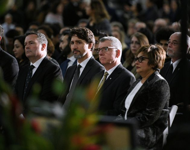 Justin Trudeau at a memorial service at the University of Alberta for the victims of a Ukraine...