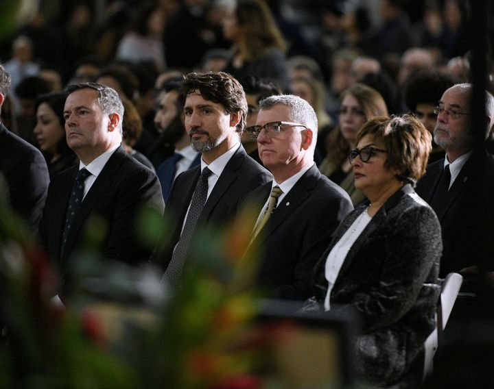 Justin Trudeau at a memorial service at the University of Alberta for the victims of a Ukraine plane crash in Edmonton on Jan. 12, 2020.